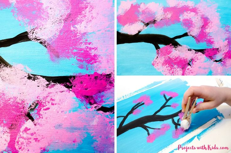 Cherry blossom painting with cotton balls is the perfect spring art project for kids. Kids will love exploring and painting the gorgeous cherry blossom colors with cotton balls in this process art activity. A fun painting project for kids of all ages!
