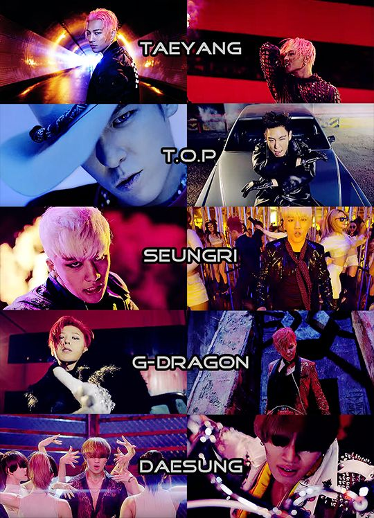 "letslearnkpop: "" Let's Learn Kpop: Group: BIGBANG MV: Bang Bang Bang Additional info: Taeyang: Perpetually wet hair. Shirtless at all times. Tiny, but his extraness makes up for it. T.O.P: Rapper...."