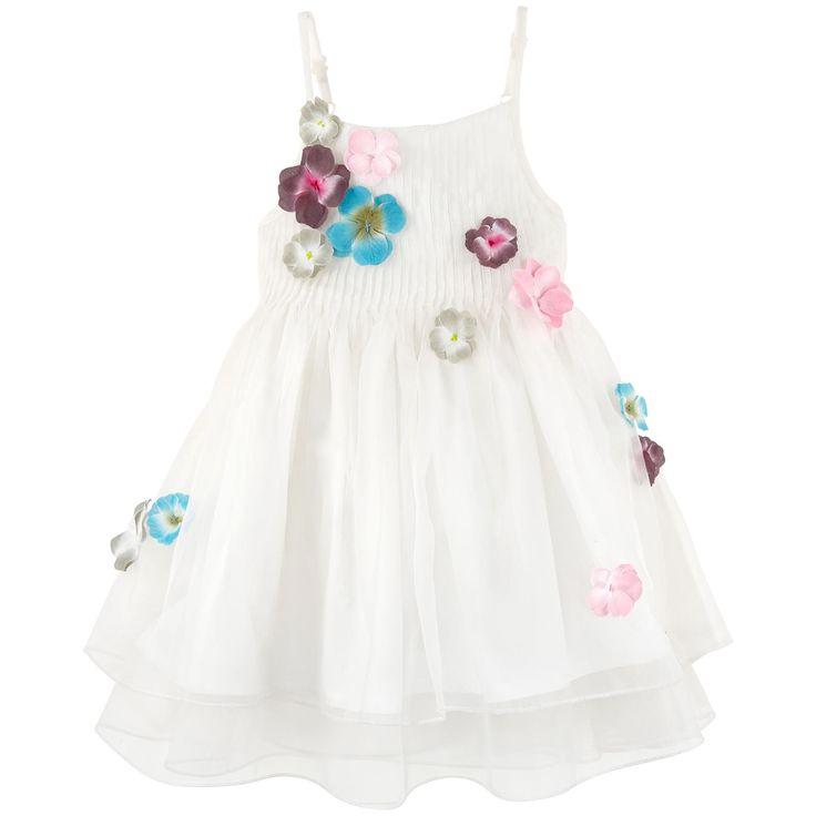 Robe à bretelles en voile translucide - Blanc - 106516