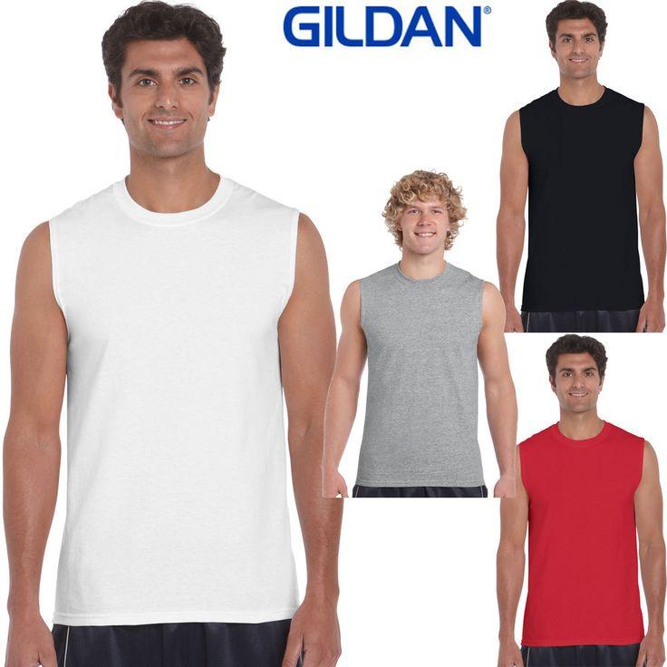 GILDAN Men's Tank Top sleeveless T Shirts Plain Muscle Gym Tee 100% Cotton 200g #Gildan #Sleevelessmuscletee100CottonTshirt200g