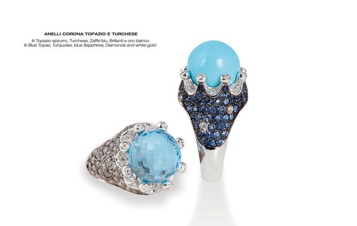 Anelli corona topazi e turchesi - Blue Topaz,Turquoise, blue Sapphires, Diamonds and white gold  - Topazio  azzurro Turchese, Zaffiri blu, Brillanti e oro bianco #jewelry #gioielli #luxury #madeinitaly #corona