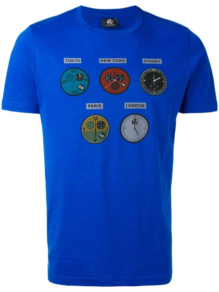 PS BY PAUL SMITH 'Watches' Cotton T-Shirt. #psbypaulsmith #cloth #t-shirt