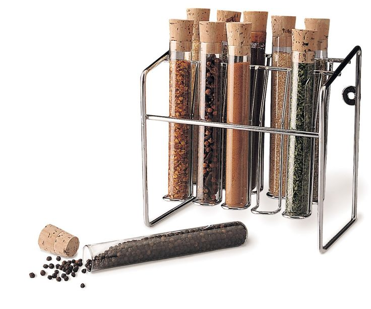 Apparently this is what your spice rack looks like when you're a scientist who loves to cook -- test tubes and a lab grade test tube spice rack!