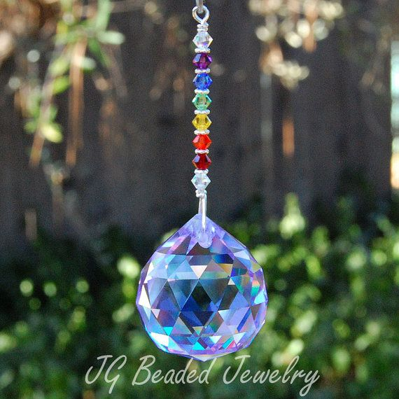 Rainbow Crystal Suncatcher - Pick Your Prism Color - Purple, Red, Blue, Clear, Green, Pink, Topaz
