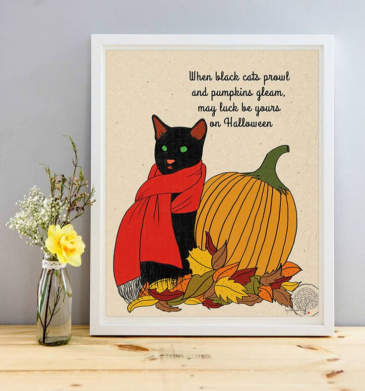 When black cats prowl and pumpkins gleam, may luck be yours on Halloween quote print, Halloween home decor, pumpkin wall art, cat drawing by Lepetitchaperon on Etsy