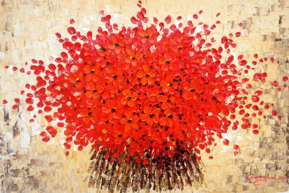 """Red Flowers - Original Floral  Painting Abstract Modern Painting - Impasto Oil On Canvas Painting 36 x 24"""" - Contemporary Art By Gargovi"""