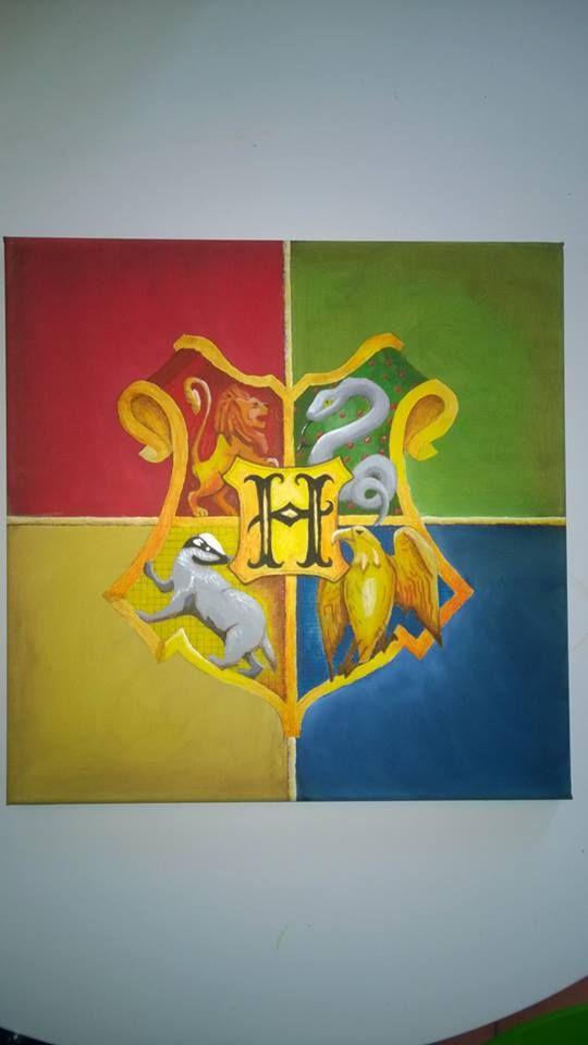Hogwarts logo i akryl till min dotters rum. Harry Potter för hela slanten ;-)   Art Painting canvas konst
