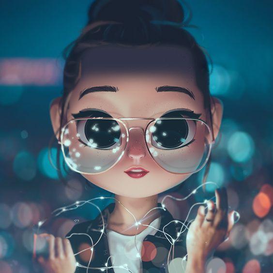 Cartoon, Portrait, Digital Art, Digital Drawing, Digital Painting, Character Design, Drawing, Big Eyes, Cute, Illustration, Art, Girl, Glasses, Lights