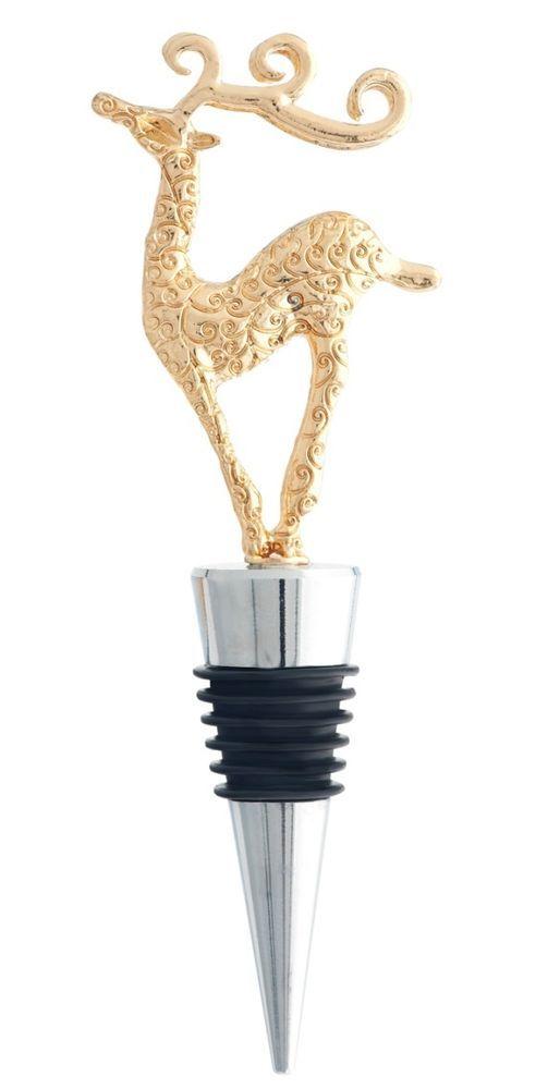 LS Arts Elegant Filigree Gold Reindeer Metal Christmas Bottle Stopper - Boxed