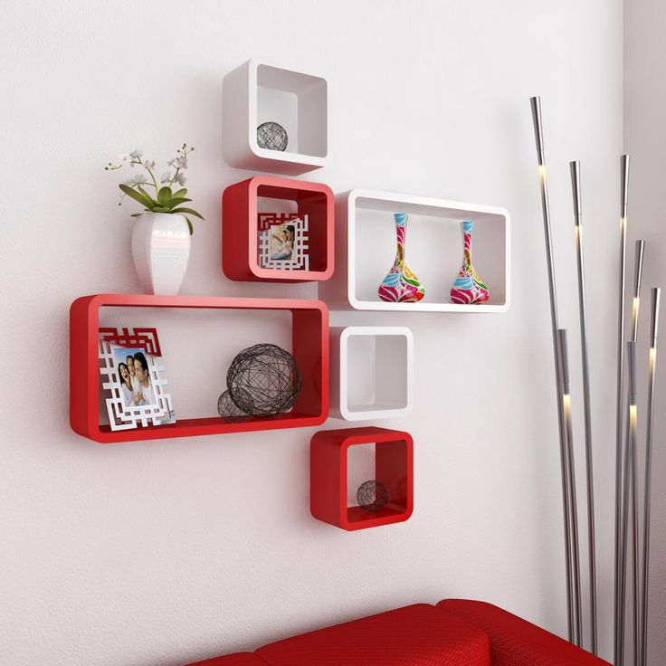 DecorNation Floating Wall Shelf Set Of 6 Cube Rectangle Rack Shelves - BUY DecorNation Products Online at Best Prices in India | AskMeBazaar.com | 1644201