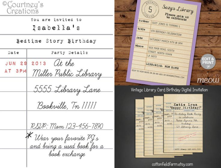 library-themed party invitations