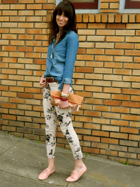 floral black and white pants from JCrew,   I'm hooked