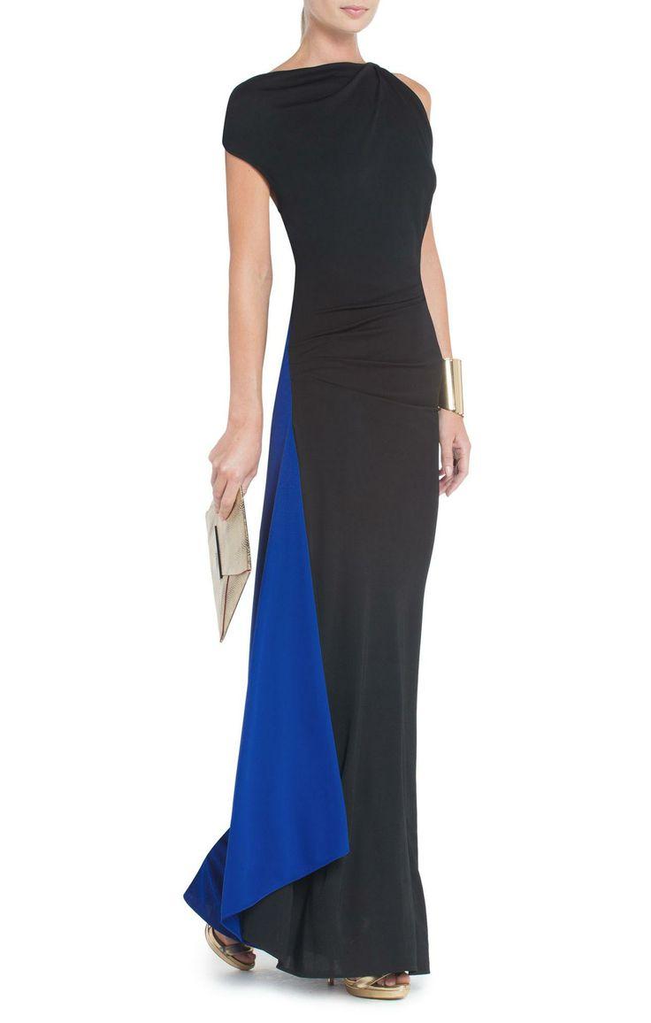 Carine Asymmetrical Draped Evening Gown