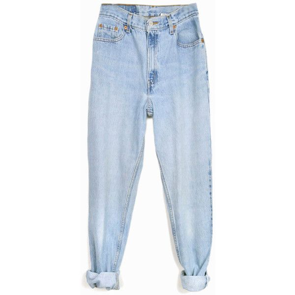 Vintage 90s Levi's 550 Jeans Relaxed Fit Denim Light Wash Jeans... ($42) ❤ liked on Polyvore featuring jeans, pants, bottoms, clothing - trousers, levi jeans, high waisted denim jeans, high waisted jeans, high-waisted jeans and light blue jeans