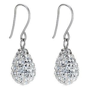 Indulge in a glamorous, chic style. These shimmering, crystal encrusted drop egg earrings will give your look a dazzling edge.