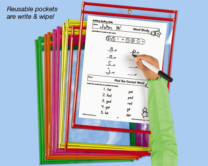Reusable Write u0026 Wipe Pocket - Each : Therapy Ideas ...