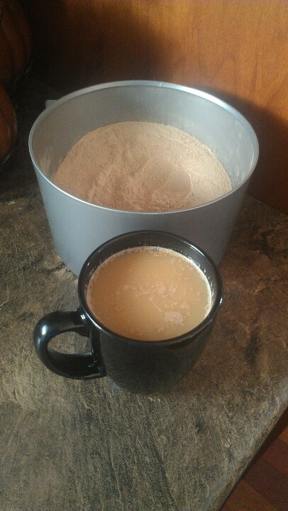 Chai Tea - 1C nonfat dry mik powder, 1C powdered non-dairy creamer, 1C French Vanilla powdered non-dairy creamer (any flavor), 2.5C white sugar (2C Stevia), 1.5C unsweetened instant tea, 2 tsp gr ginger, 2 tsp gr cinnamon, 1 tsp gr cloves, 1 tsp gr cardamom (strong-can omit). In a bowl combine milk powder, creamers, sugar & instant tea. Stir in spices. In a food processor, blend 1 C at a time until mix is the consistency of powder. Serve: stir 2 heaping tsps mix into a mug of hot water (8…