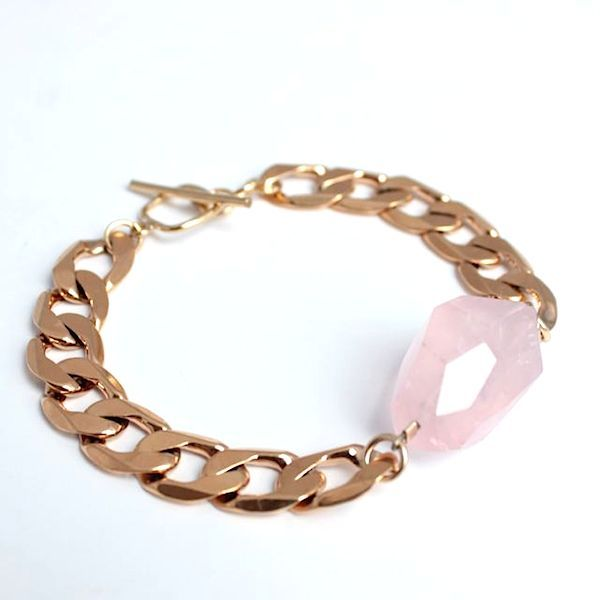 Rose Quartz Gold Bracelet - by Cathy Pope