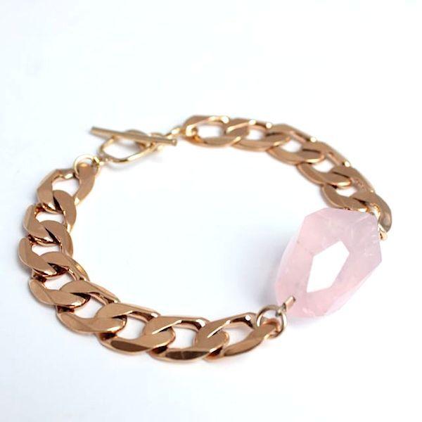 Rose Quartz Gold Bracelet - by Cathy Pope