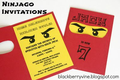 The Blackberry Vine: Lego Ninjago Party Invitation
