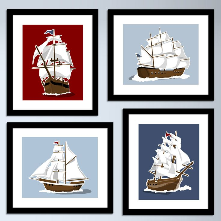 sailboat wall art - nautical art prints - set of 4 childrens art prints - pick your colors, boys wall art nursery sail boat pirate ship. $45.00, via Etsy.