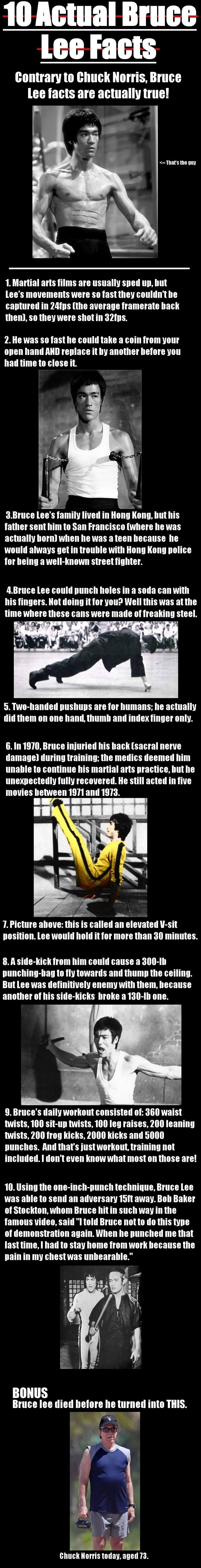 Bruce Lee  facts.  I'm such a tomboy I was massively impressed by everything in this pin