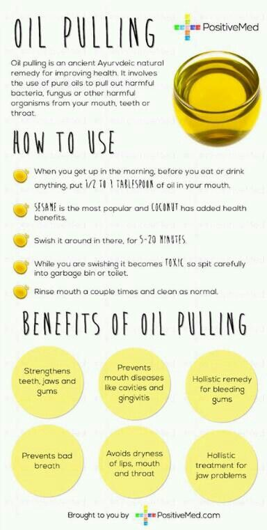 Oil pulling. What many don't know is that oil pulling also makes your teeth so much whiter!