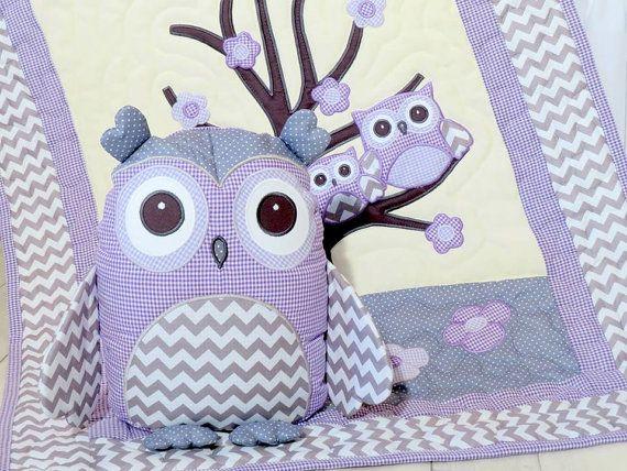 Органические Сова Одеяло, Детские кроватки Постельные принадлежности, Детская Одеяло, Подушка Сова, фиолетовый, серый шеврон