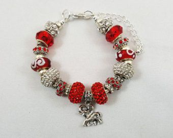 Crimson and Cream Beaded European Charm Bracelet, Elephant Charms, Greek Paraphernalia, Jewelry, Sorority, Line Sisters, Crossing, Gifts