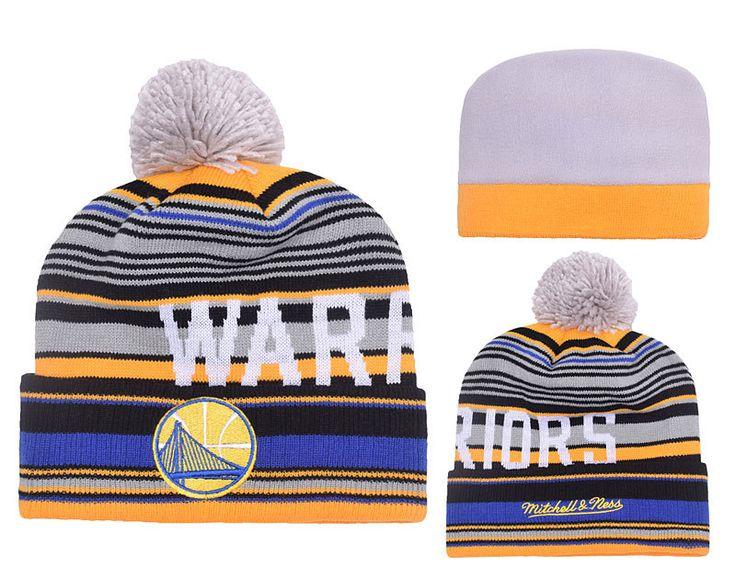 Men's / Women's Golden State Warriors Mitchell and Ness NBA G-Super Stripe Knit Pom Pom Beanie Hat - Grey / Gold / Blue