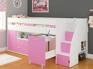 White And Pink Mid Sleeper Bed With Staircase Storage