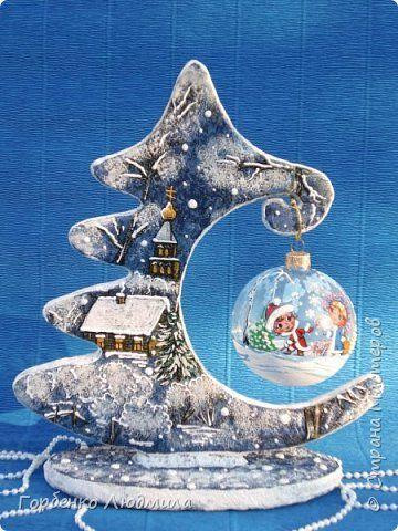 Поделка изделие Новый год Моделирование конструирование Папье-маше Ёлки-подвески для шаров Картон Пайетки Салфетки фото 2