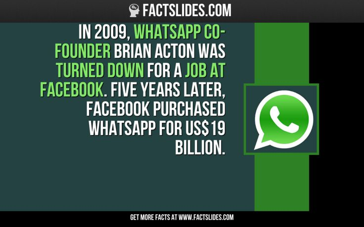 In 2009, WhatsApp co-founder Brian Acton was turned down for a job at Facebook. Five years later, Facebook purchased WhatsApp for US$19 billion.