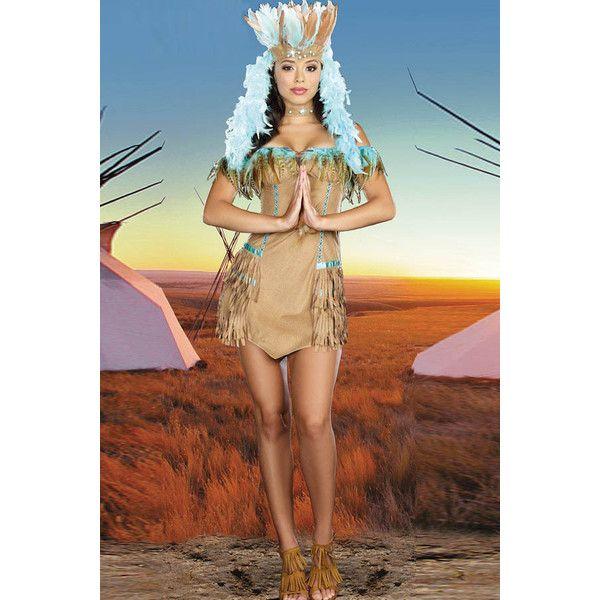 Khaki Sexy Indian Halloween Costume ($37) ❤ liked on Polyvore featuring costumes, sexy costumes, indian costume, indian halloween costumes, sexy indian costume and sexy halloween costumes