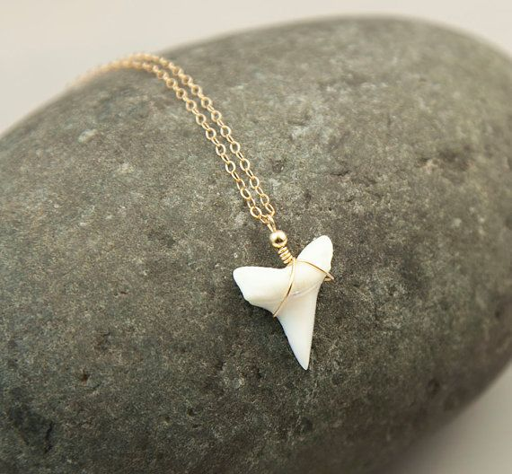 Delicate Shark Tooth Necklace. A beautiful, little, REAL shark tooth has been hand wire wrapped and hangs from delicate 14K gold fill, rose gold