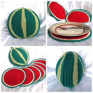 This is a crochet pattern to create 6 watermelon shaped placemats and a watermelon shaped holder to neatly store them in. This pattern is written using US terms and includes a chart to convert into UK terms. I have used photographs to help with instructions in the pattern and have included a printer friendly version.