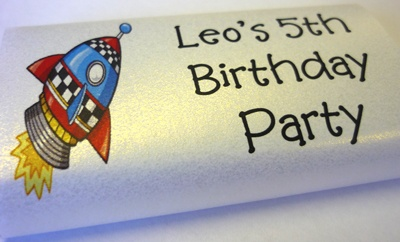 Rocket space theme party - personalised chocolate bar
