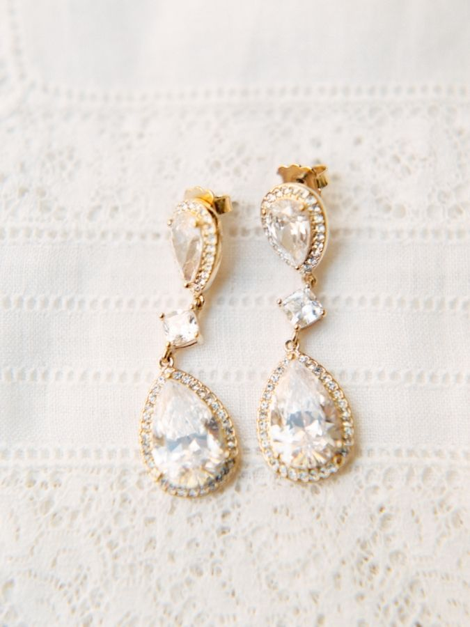 Double crystal gold dangle earrings