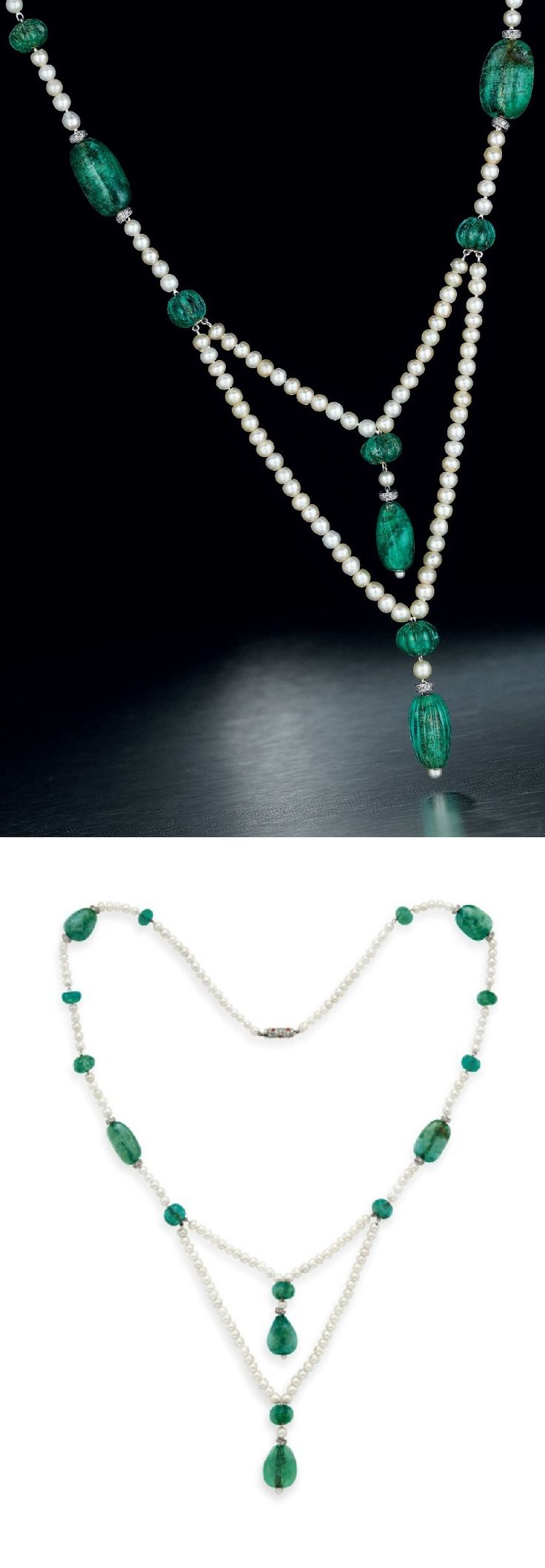 CARTIER - AN ELEGANT ART DECO EMERALD, DIAMOND AND PEARL NECKLACE, CIRCA 1925. The front designed as a two-strand pearl swag, suspending lines of reeded and smooth emerald beads, single-cut diamond rondelles and pearls, to the neckchain of similar design, joined by a single-cut diamond and cabochon coral barrel clasp, mounted in platinum, signed Cartier, numbered.