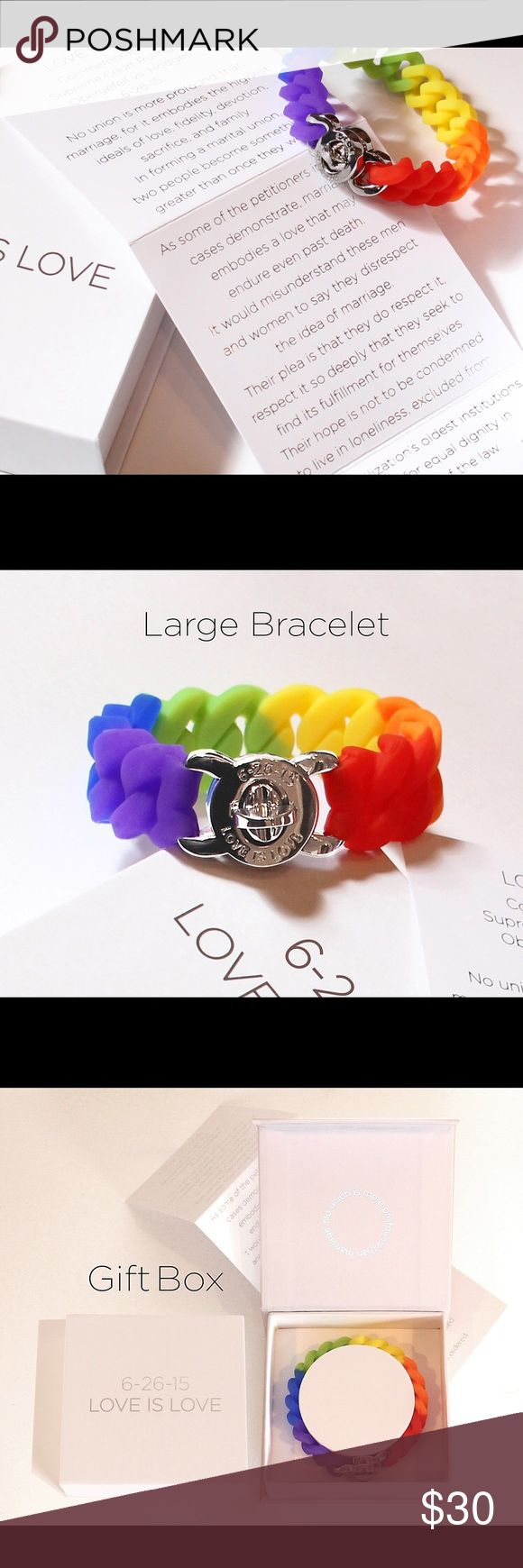 PRIDE: Love is Love Bracelet The Show Your PRIDE: Love is Love Limited Edition commemorating the 6-25-15 Supreme Court Decision on marriage equality.  Each bracelet comes packaged in a presentation box with magnetized closure and includes an excerpt from Justice Kennedy's majority opinion. Silicon with metal clasp closure. Share of proceeds supports groups serving at-risk LGBT youth. Supplies limited. Accessories