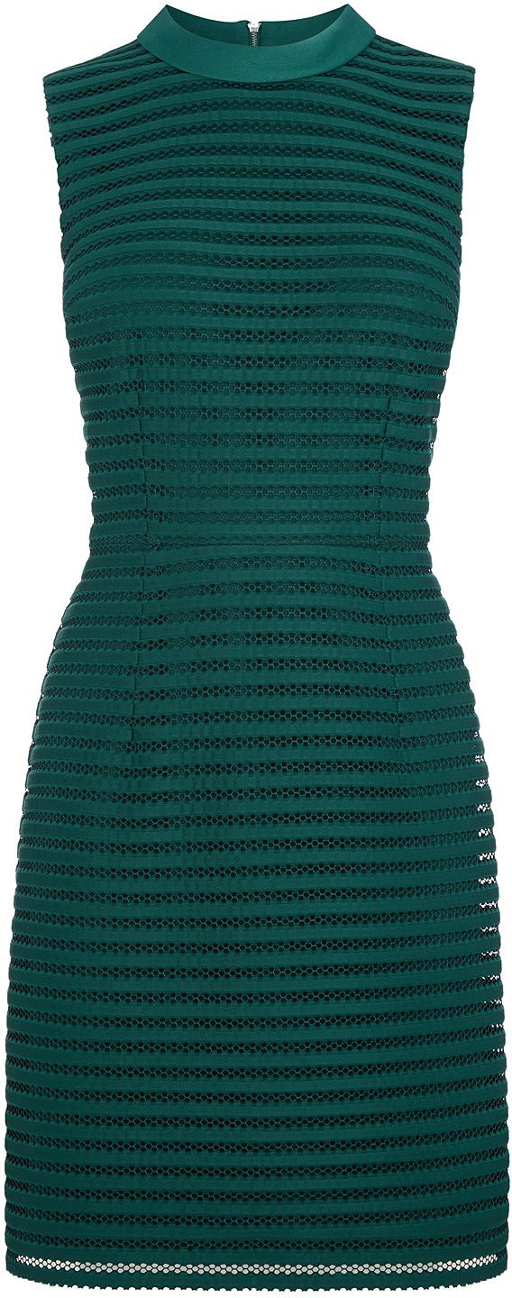 Womens bottle green stripe mesh high neck dress from Oasis - £65 at ClothingByColour.com