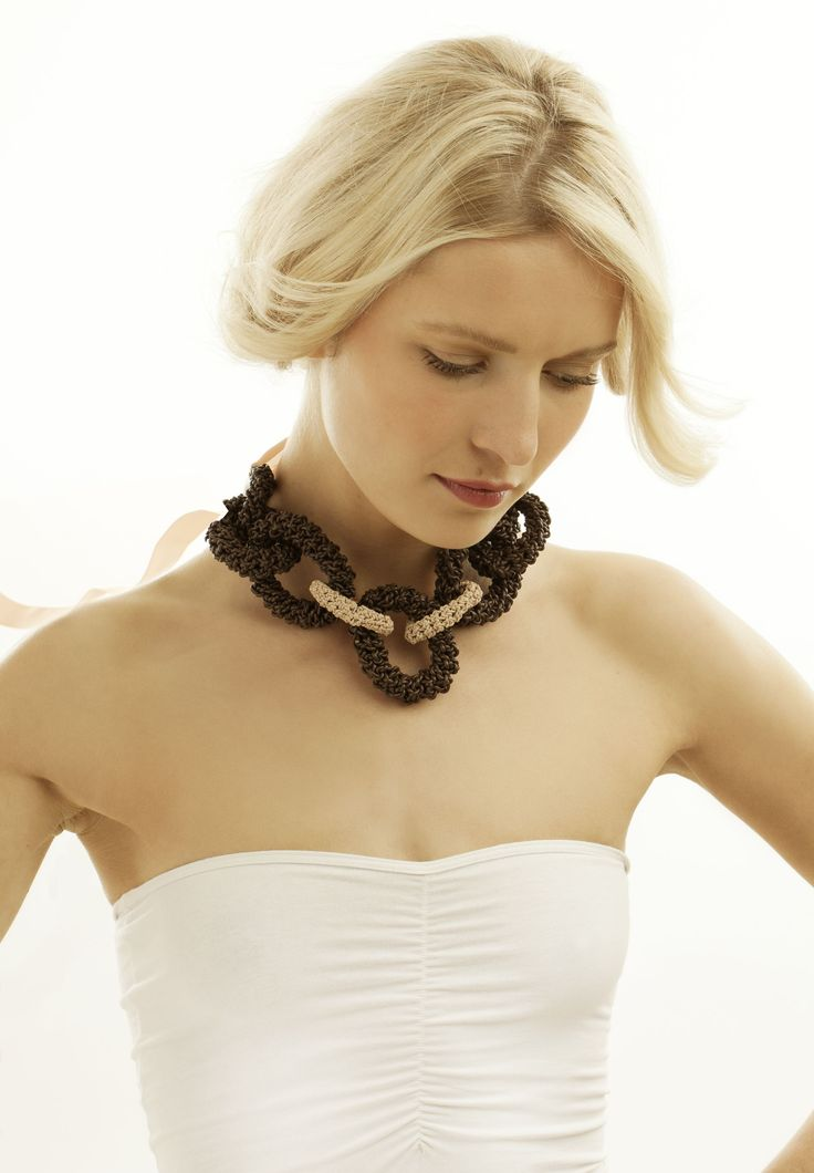 Leather crochet chain necklace