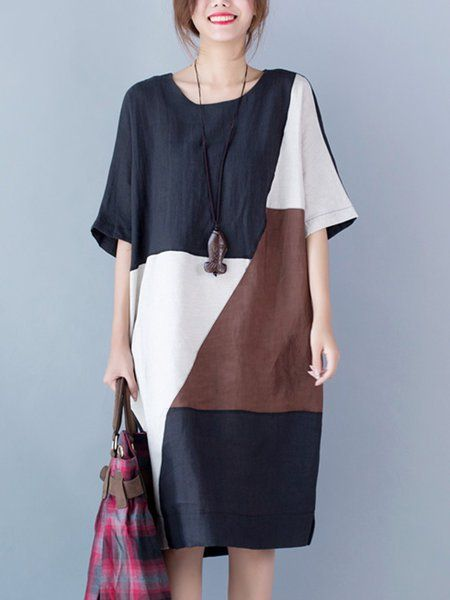 98c6a6735aa Buy Linen Dress For Women from VIVID LINEN at Stylewe. Online Shopping  Stylewe Crew Neck Going out Dress Short Sleeve Cotton Color-block Dress
