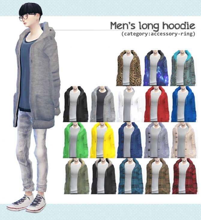 Men's long hoodie at Imadako via Sims 4 Updates