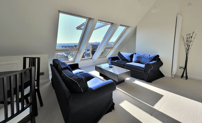 Attic Conversions Okc: Interior View Of Floorlength Velux Windows With Balcony