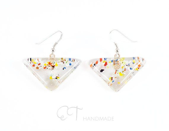 Triangle earrings for sensitive ears Murano di EThandmadeshop