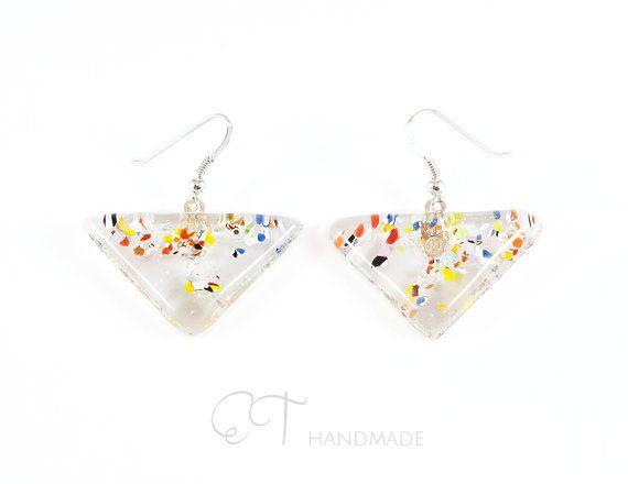 Triangle earrings for sensitive ears Murano di EThandmadeshop