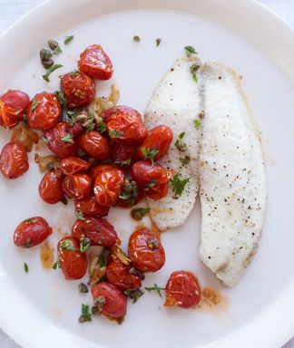 Roasted Tilapia, Tomatoes & Garlic Recipe and 10 other recipes for one person - MyNaturalFamily.com #recipe