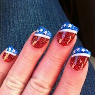 Patriotic nail art...I MAY be able to do a simpler one...