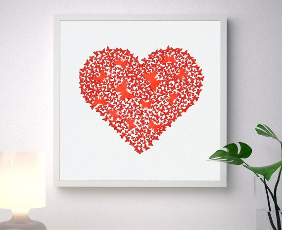 Unique handmade picture, made of more than 350 individually cut and placed 3D red art paper butterflies forming a classic heart shape, on a